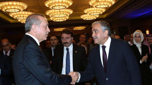 Cumhurbaşkanı Recep Tayyip Erdoğan ve Kuzey Kıbrıs lideri Mustafa Akıncı