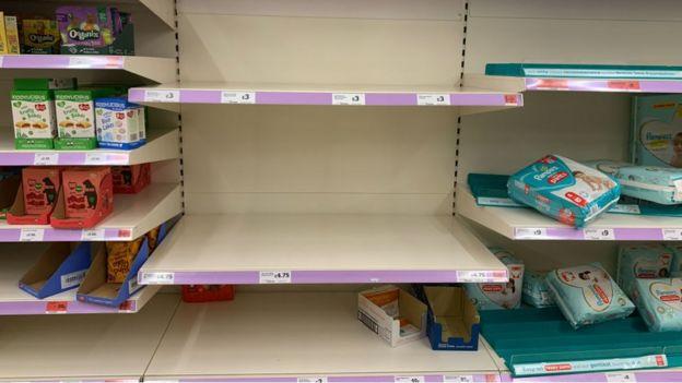 Sainsbury's empty shelves