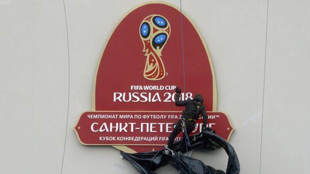 Placa del estadio Zenit Arena en San Petersburgo