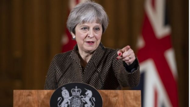 UK PM Theresa May at a news conference following Western air strikes on Syria over a suspected chemical weapons attack in the Eastern Ghouta, 14 April 2018