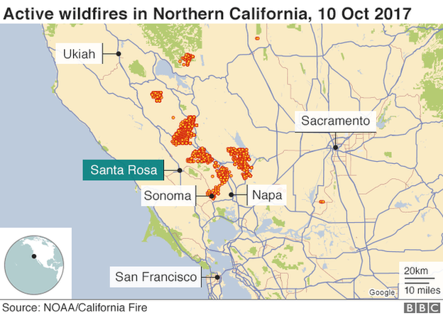 California Fires Thirteen Dead In Wine Country Bbc News