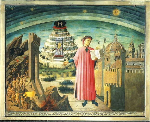 Retrato de Dante Alighieri, Florencia y la alegoría de la Divina Comedia, 1465.