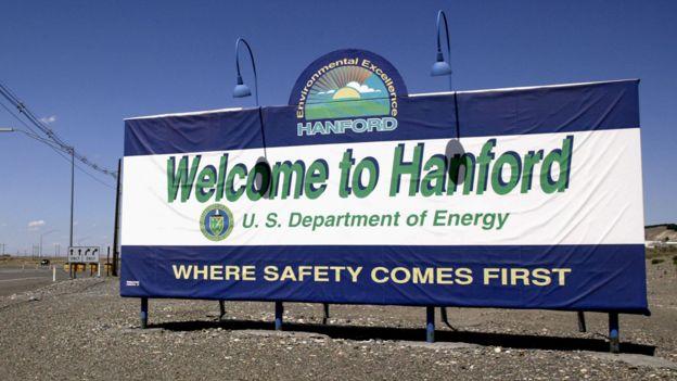 Placa de boas vindas às instalações de Hanford