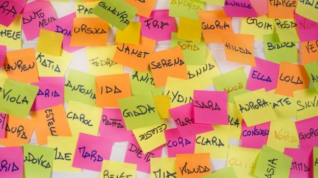 Nombres propios en post its.