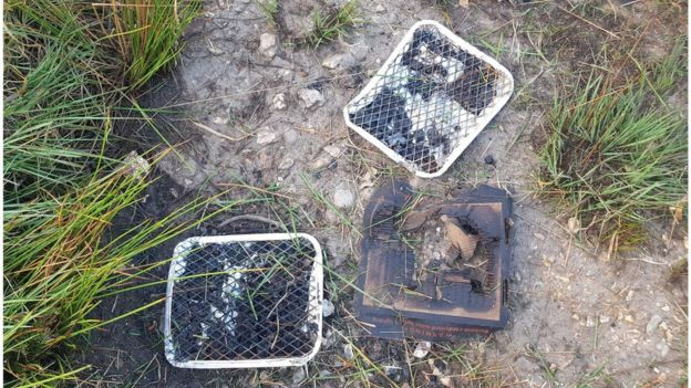 Disposable BBQs found at the scene