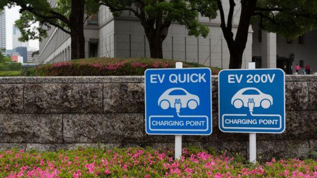 Знаки зарядных станций для электромобилей в Японии