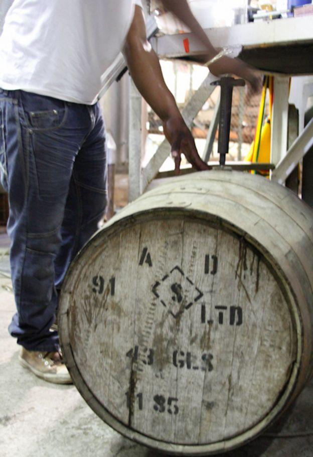 A rum barrel at Antigua Distillery