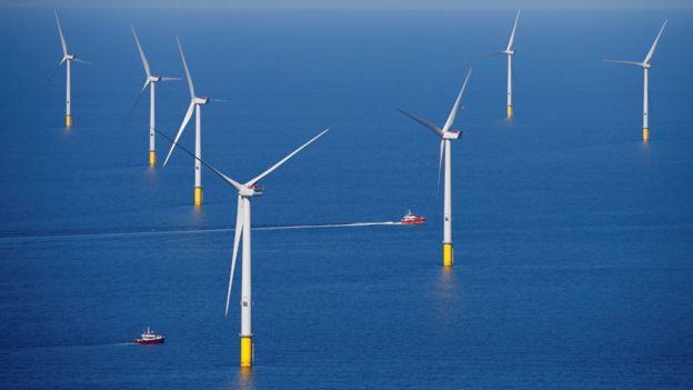 Paque eólico offshore frente a las costas de Blackpool en Inglaterra