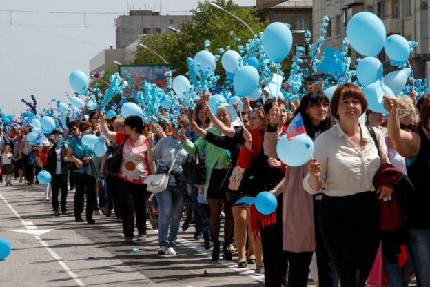 روز جهانی کارگر در لوهانسک، اوکراین