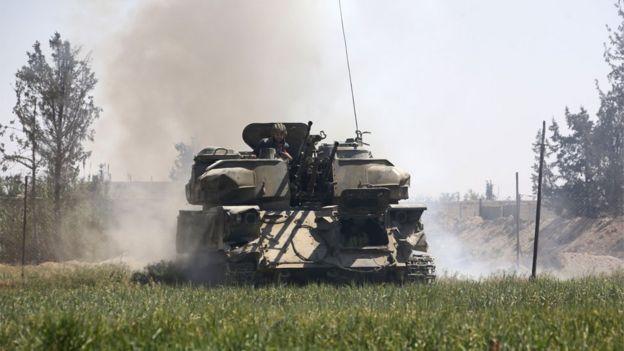 Tanque de las fuerzas gubernamentales de Siria en Guta Oriental.
