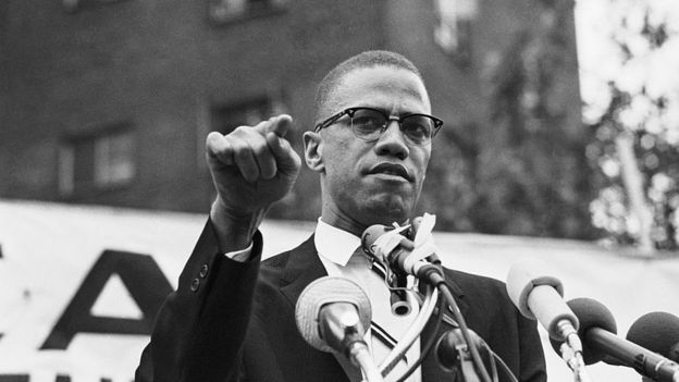 Malcolm X speaks at a rally