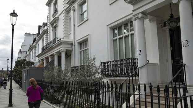 Mrs Hajiyeva's home in Knightsbridge, a short walk from Harrods