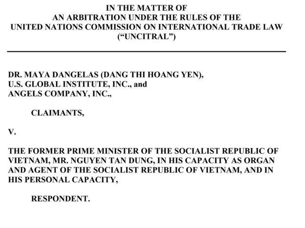 Trang đầu của Thông báo Vụ kiện của Nguyên đơn Đặng Thị Hoàng Yến và Bị đơn Nguyễn Tấn Dũng do văn phòng luật sư Charles Camp gửi cho BBC Tiếng Việt
