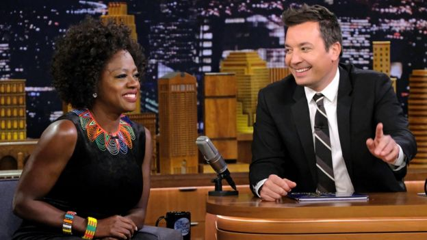 Viola Davis and Jimmy Fallon