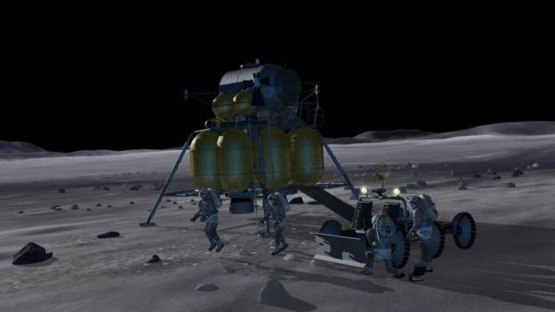 Astronautas pisando na lua - imagem conceitual criada por John Frassanito and Associates