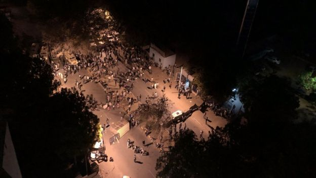 Arial view of protesters in Sudan