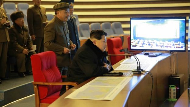 Kim Jong-un watches the launch of the Kwangmyongsong 4 satellite in February 2016