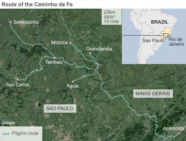 Map showing the route of the Caminho da Fe pilgrimage in Brazil