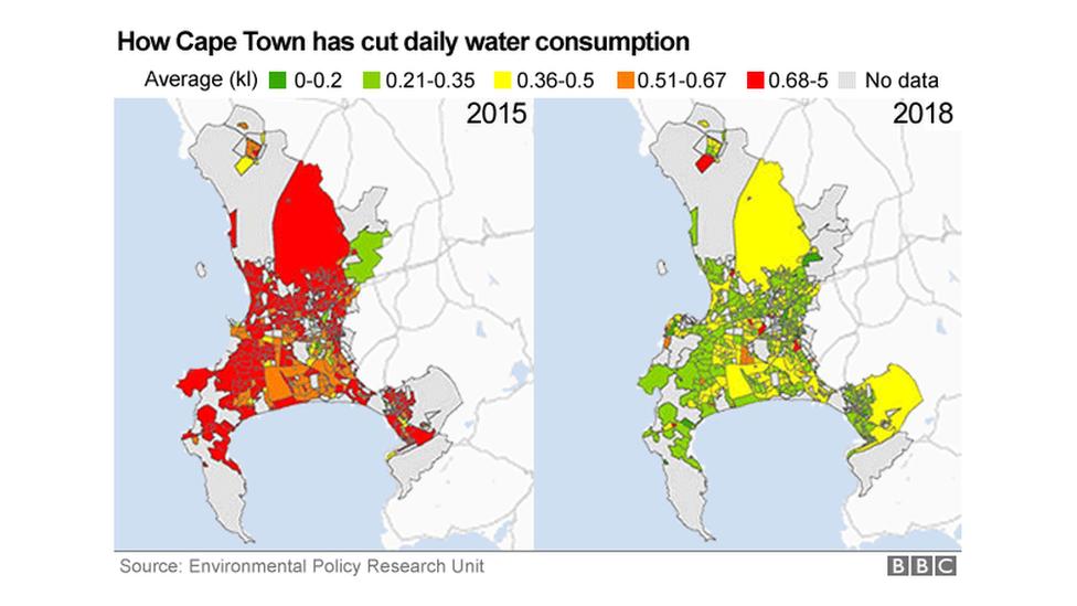Карта, показывающая использование воды в Кейптауне