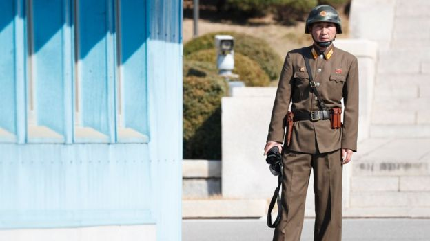 A North Korean soldier at the Joint Security Area on the DMZ