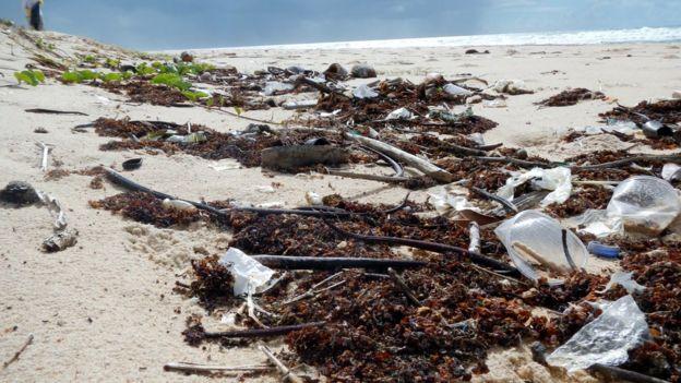 Lixo próximo ao mar