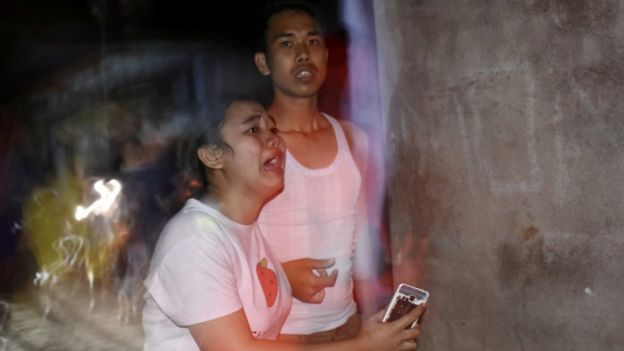 People react to the earthquake in Mataram, Lombok - 5 August