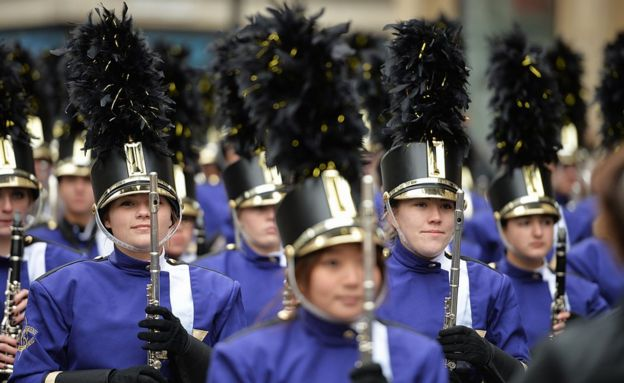 Participants get ready before taking part in the London New Year's Day Parade