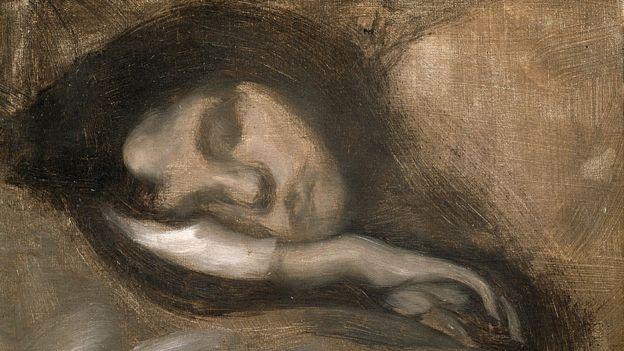 """""""Cabeza de una mujer dormida"""", Siglo XIX y principios del XX. Artista: Eugene Carriere"""