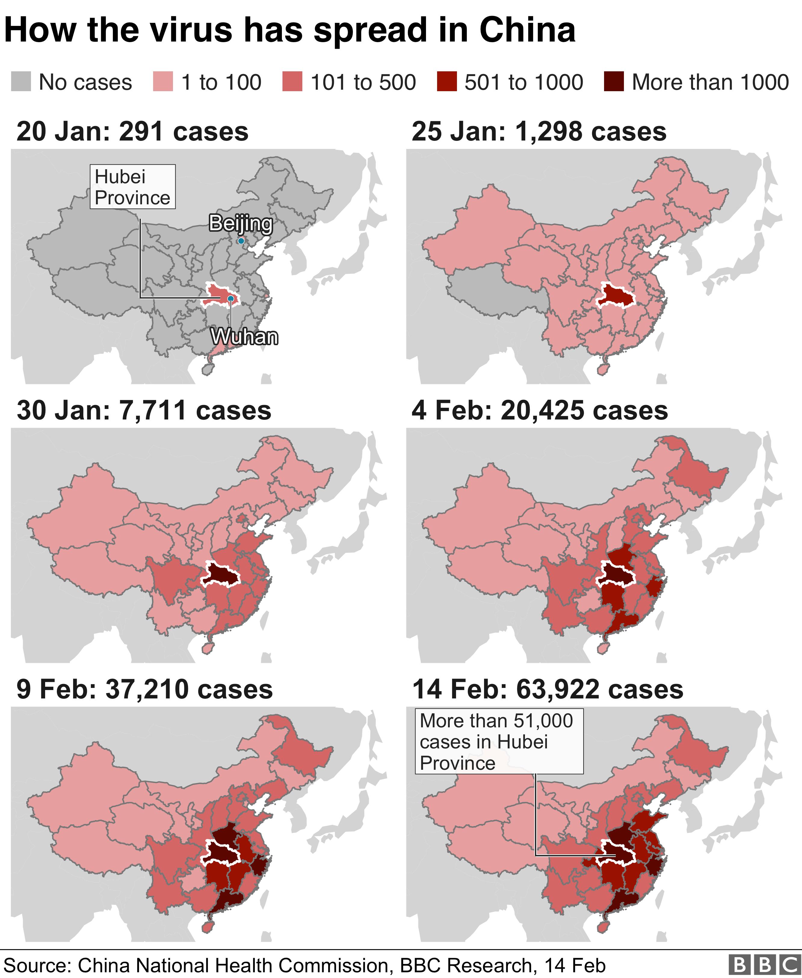 Serie de hărți care prezintă răspândirea coronavirusului