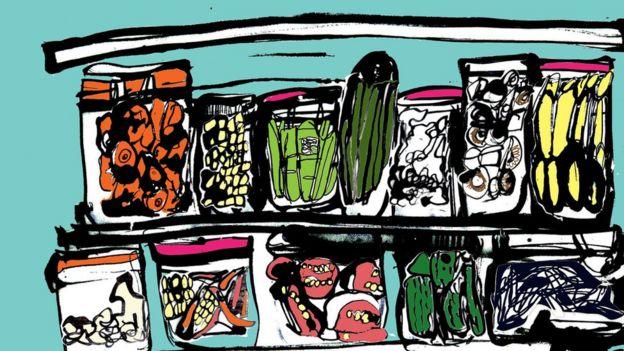 Ilustración de alimentos en frascos