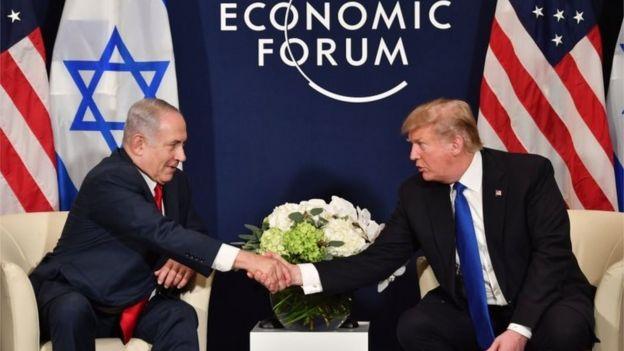 Benjamin Netanyahu e Donald Trump em janeiro de 2018
