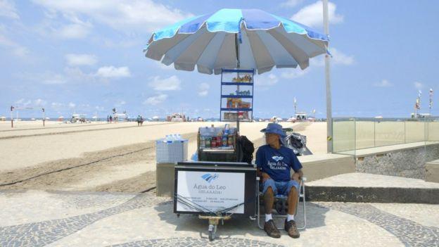 Leonardo na praia de Copacabana