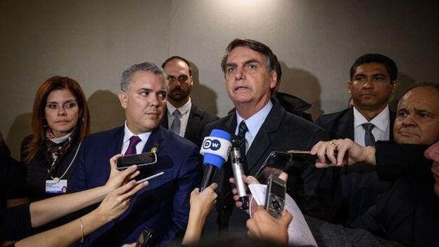 Президент Колумбии Иван Дуке и прездидент Бразилии Жаир Болсонару