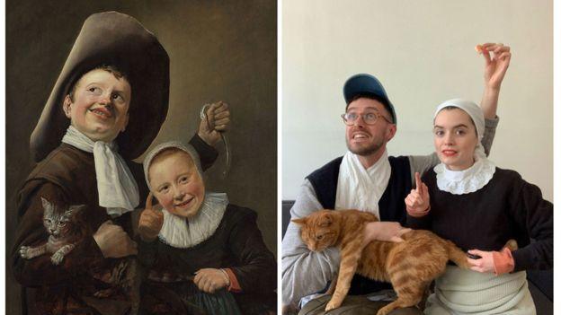 """""""Un niño y una niña con un gato"""" de Judith Leyster (1635) recreado por Bethan, educador."""