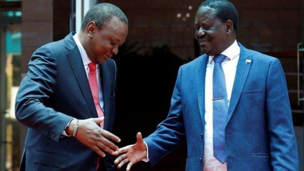 Rais Uhuru Kenyatta na Bwana Odinga