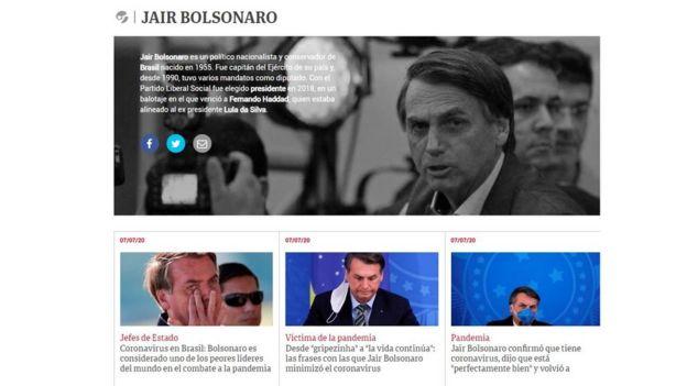 Reportagem do jornal Clarín sobre diagnóstico positivo de Jair Bolsonaro