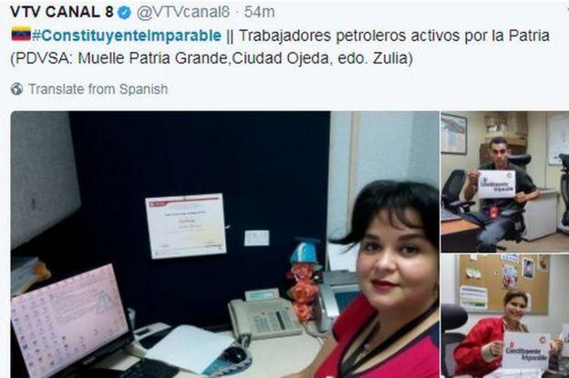 Devlet tarafından işletilen medya kanalı VTV'ye ait bir tweet, petrol çalışanlarını ofislerinde gösteriyor