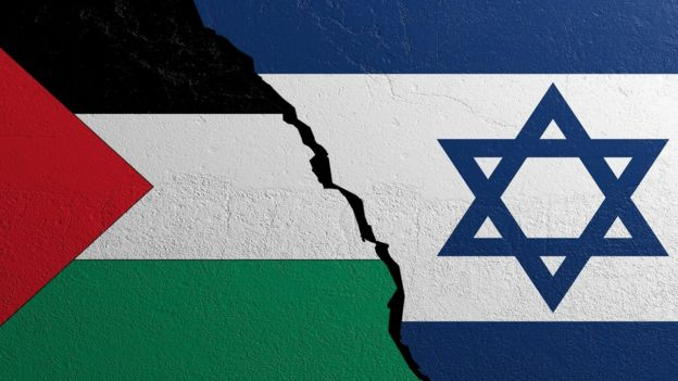 Palestinian and Israeli flags