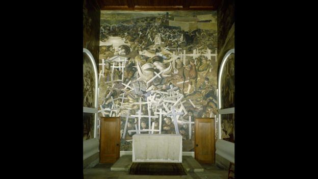 World War One murals at the chapel in Burghclere