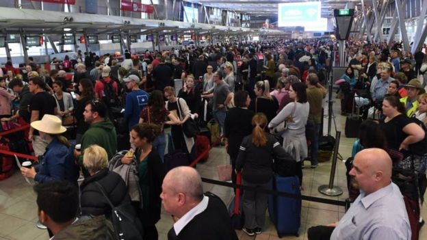 Passengers endure delays at Sydney Airport on Monday