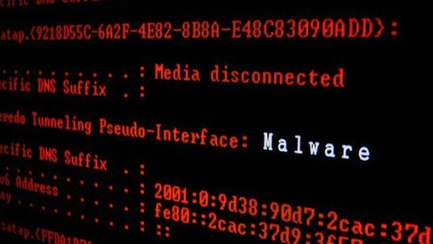 Screenshot of computer screen spotting malware