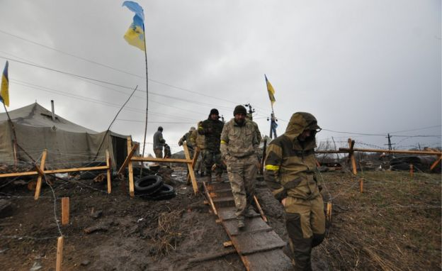 A camp of Ukrainian ex-soldiers who are still blocking rail lines in and out of the Donetsk area