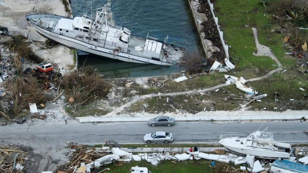 An aerial view of damage from Hurricane Dorian on September 5, 2019, in Marsh Harbour, Great Abaco Island in the Bahamas.