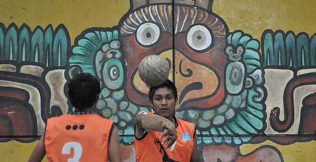 Guatemalans playing Chajchaay, an ancient Maya ball game