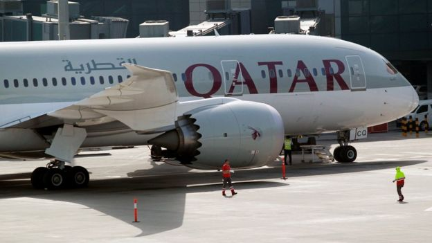 A Qatar Airways aircraft at Hamad International Airport in Doha, Qatar, June 7, 2017