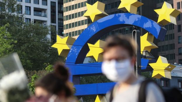 Euro sign at ECB building in Frankfurt, Germany, 24 Apr 2020