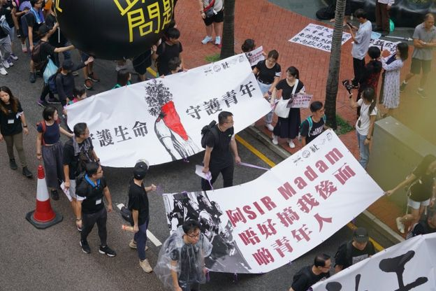香港社工上街游行