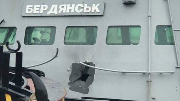 Damaged Ukrainian gunboat Berdyansk in Crimea