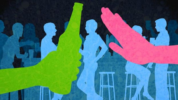 Gráfico: gente bebiendo en un bar