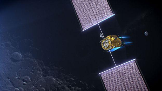 Ilustración de un módulo del Lunar Gateway con paneles solares